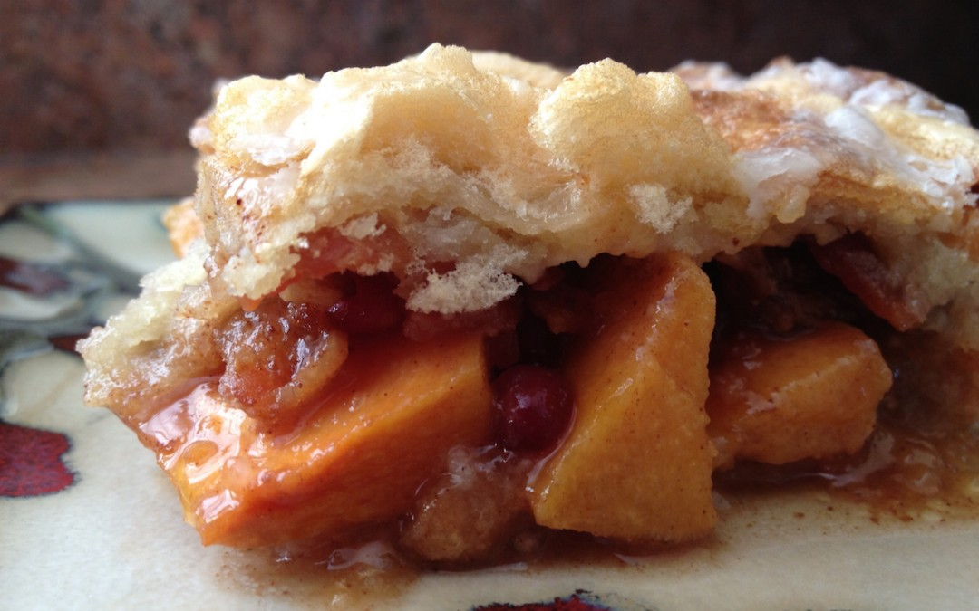 Persimmon-Pomegranate Strudel studded with Brandy-Bacon Caramel