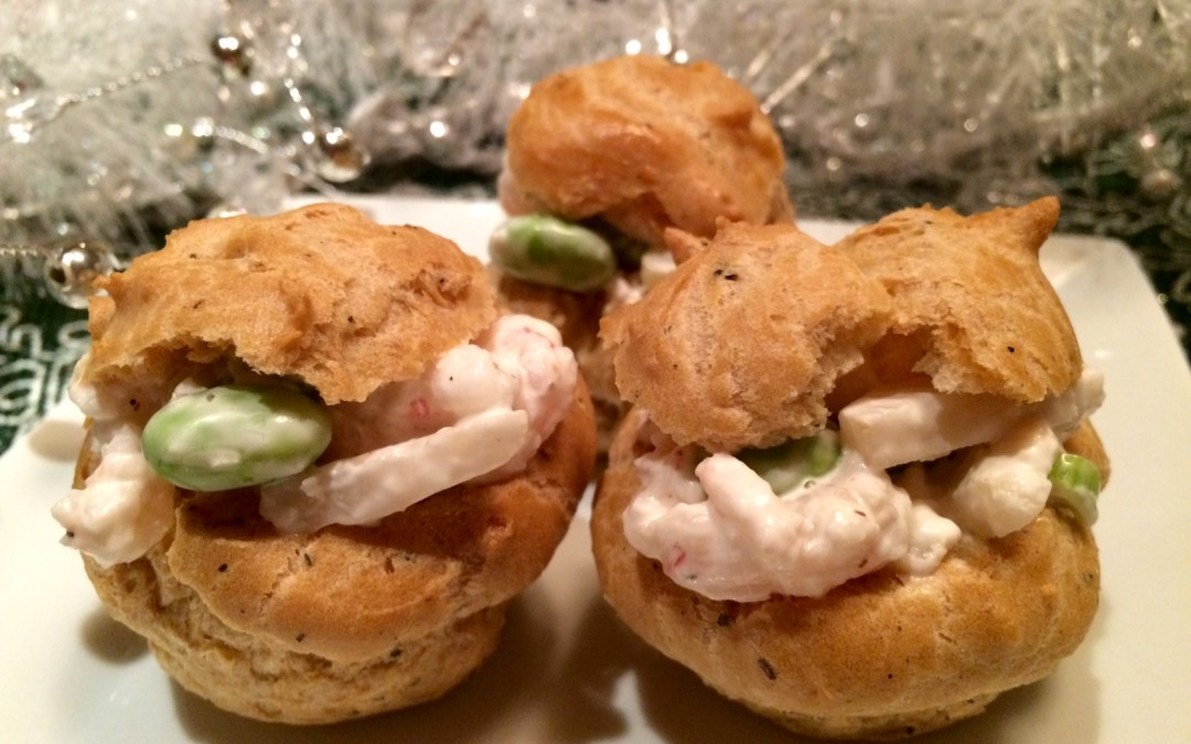 Toasted Sesame-Shrimp-Edamame-Puffs