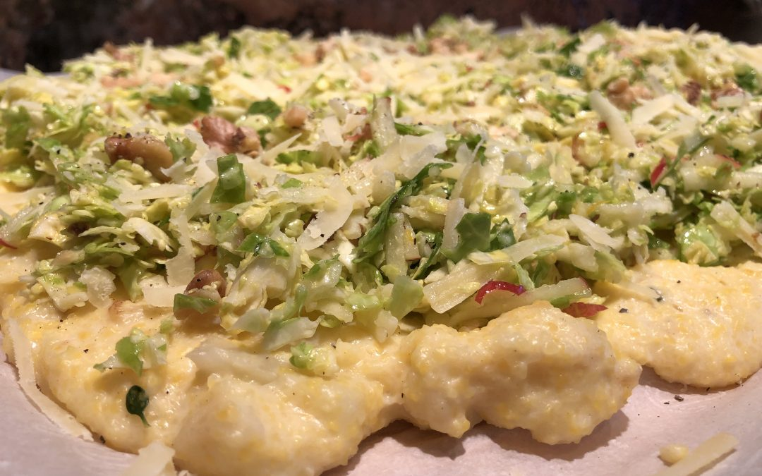 Rustic-Cauliflower-Polenta with Brussels Sprout-Apple-Slaw