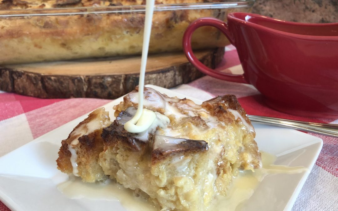 Pina Colada-Sourdough Bread Pudding w/Butter Rum Sauce